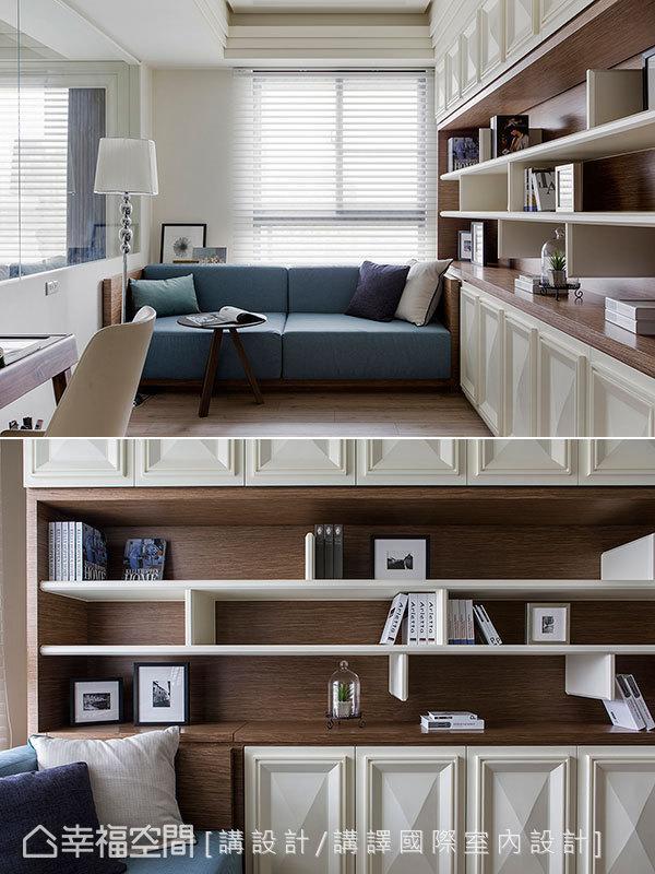 书墙选用手工立体线板,呈现出日系精品包的几何标志,平衡书房内幽静舒适的调性。