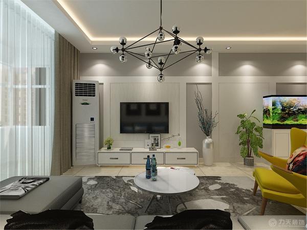其他墙面刷白色墙漆,营造出现代化空间。 沙发采用蓝色和浅色的抱枕,色彩作为装饰手段,墙面色彩因能改变居室的外观与格调而受到重视。
