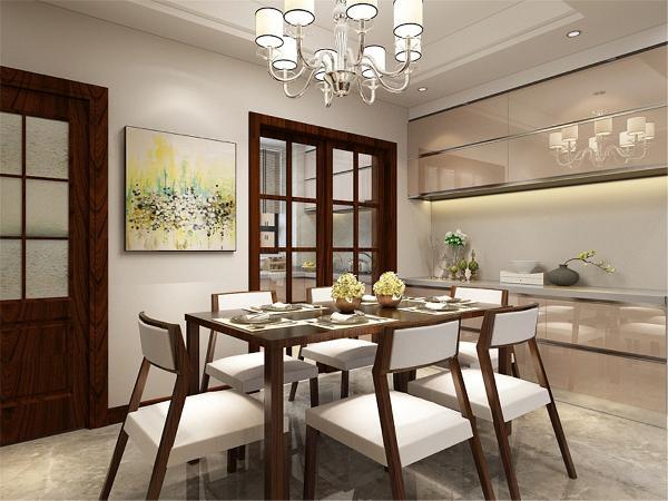 餐厅和客厅都是回型跌级吊顶,灰色系800x800地砖,简约时尚,餐椅是六人座,方便家里有客人使用。餐厅旁还设置了吊柜和地柜,实用性更强。