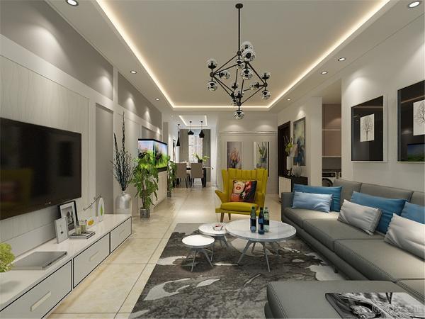 本案电视墙面壁纸的设计是整个住宅空间的亮点,运用了石膏板和灰色墙漆相呼应,在电视位置铺贴壁纸,使其成为重点。