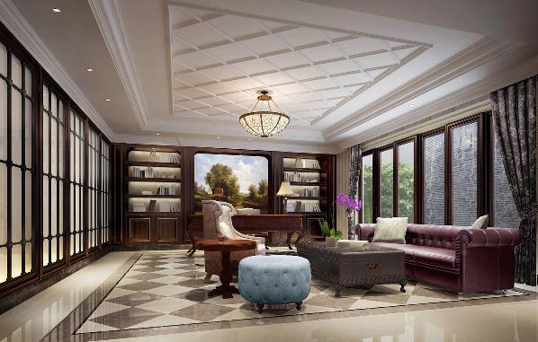 秉承整体色调一贯的沉稳、典雅。菱形花色瓷砖低调中延续经典,考究的材质则透露出业主平时的品位。