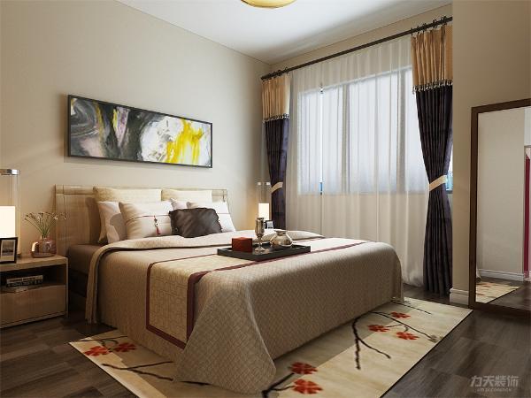 卧室的设计依然是以简单的造型为主,床的背景墙以一副现代抽象画为衬托,有层次有立体感。地毯的色彩与房间相呼应上下一体。