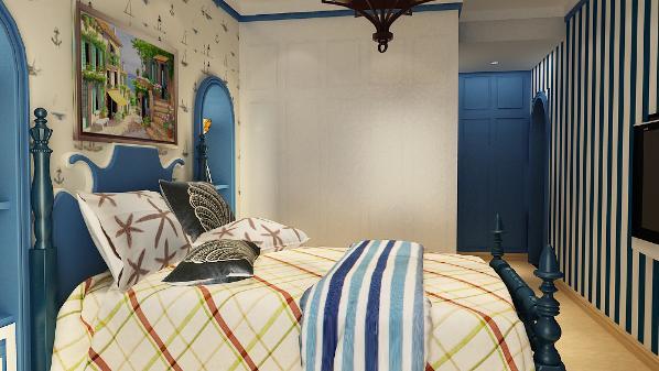 地中海的卧室,用色大胆,明亮。蓝色的床、蓝色的床头柜、搭配温暖的橙色被子以及暖色的地砖,让整个空间不只是停留在蓝白之间。