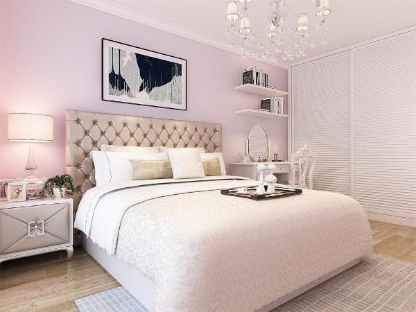 在卧室的设计中,同样我们采用了木色的木地板与香芋色墙面相结合,白色的衣柜配搭灰色系的双人床使空间有了少许温暖和亲切,地板采用的是实木复合地板具有防滑的功效