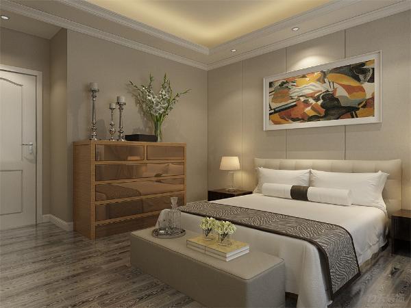 主卧双人床的下方设计一个榻更方便使用,室内的储物柜也起到装饰作用,功能性很强,非常能体现业主的品味。