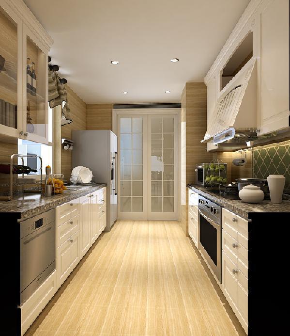 厨房的整体颜色要以白色、暖黄为主,让厨房看上去温馨。布局科学合理,兼顾了收纳功能与实用性,让厨房使用起来更便捷。
