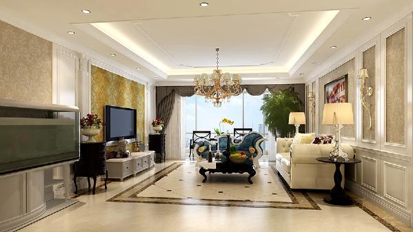 白色护墙板沙发背景,内贴浅色壁纸,时尚温馨不突兀,诱发着淡雅清新的现代简欧味道,配上奢华艺术的布艺沙发,与电视墙相呼应,让整个客厅尽显时尚、高贵、轻松、愉悦的视觉感,营造出一个朴实之中的时尚简欧家居。