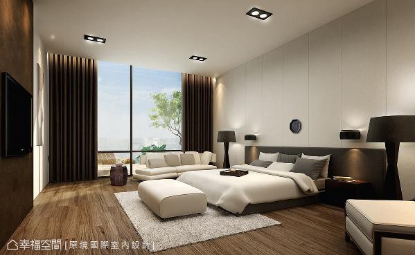 以简化繁的空间设计,用线条沟缝的床头主墙,铺述出简约调性与细腻的设计感。 (此为3D合成示意图)