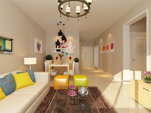 沙发背景墙简单的用两幅挂画装饰。进而诠释主人现代又简约的生活方式。卧室的做的是暖色墙面,衣柜是现代式的推拉门衣柜,整个空间铺的是实木复合地板。