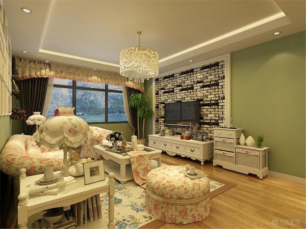 整个空间以白色为主,电视柜、茶几与餐桌椅均为白色的,餐桌背景墙与电视背景墙是一样,餐椅也是碎花布艺的,与整个空间融为一体。
