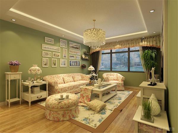 此户型为天津湾海景文苑 5、6号楼标准层C4户型2式2厅1厨1卫,建筑面积是91㎡,设计风格为田园风格。整个空间以暖色调为主,暖色的光源给空间营造了温馨舒适的感觉。