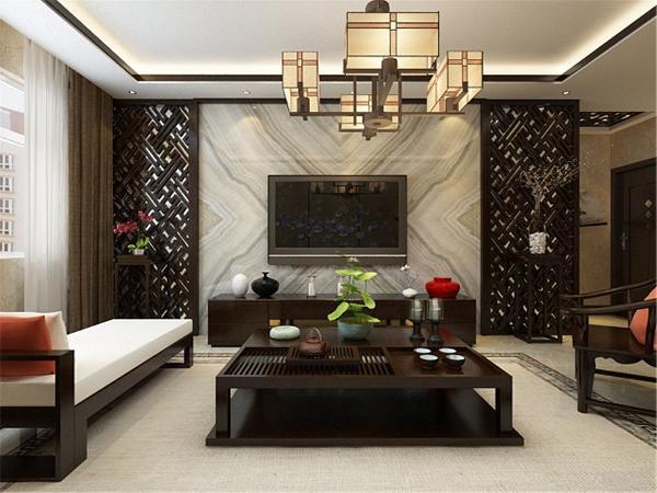 电视背景墙造型是中间石材,两边为木栅格里面加镜面。镜面材质使整个空间十分透亮。沙发背景墙整体为一幅画,分别用金属条分隔开,具有层次感。顶面一圈回字形内加木线,沙发采用的是布艺与木质相结合