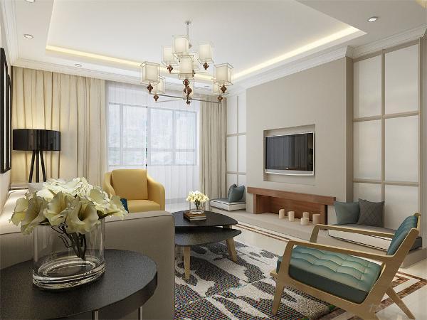 客厅放置了白色的主沙发,配以亮色抱枕,再加上造型特异的电视背景墙,整个空间充满了休息的地方,简约而不简单