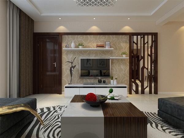 客厅在家具配置上,深灰色的沙发,与花色抱枕的搭配,使家具倍感时尚,具有舒适与美观并存的享受。整个空间贴暖黄色的素纹理壁纸,奠定了整个空间的基调,使用金属感、亮光及玻璃的材料作为辅材