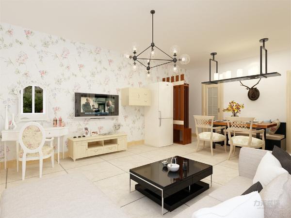 客厅设计讲究的是简约、稳重,深色的电视柜、茶几,浅色的沙发。沙发的色彩与电视背景墙整个空间形成呼应,光照也使空间看起来更通透明亮,别有韵律