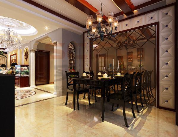 原木材质的餐桌有古典味道,适合不常居住的第二居所和朋友聚会之用。铁艺灯和天花的木梁是美式乡村风格的标志,壁纸的花色非常素雅丰富,就餐时可以看到窗外的春色或者客厅的壁炉。