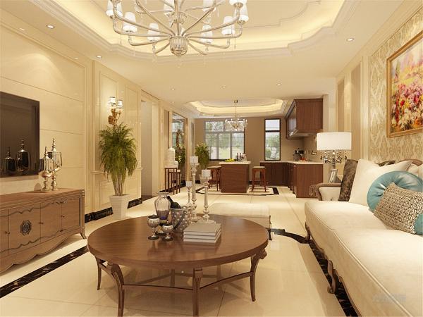大理石的地砖与墙面造型是整体空间的档次进一步的提升,配合大马士革壁纸的应用,使整个空间显得奢华又和谐。