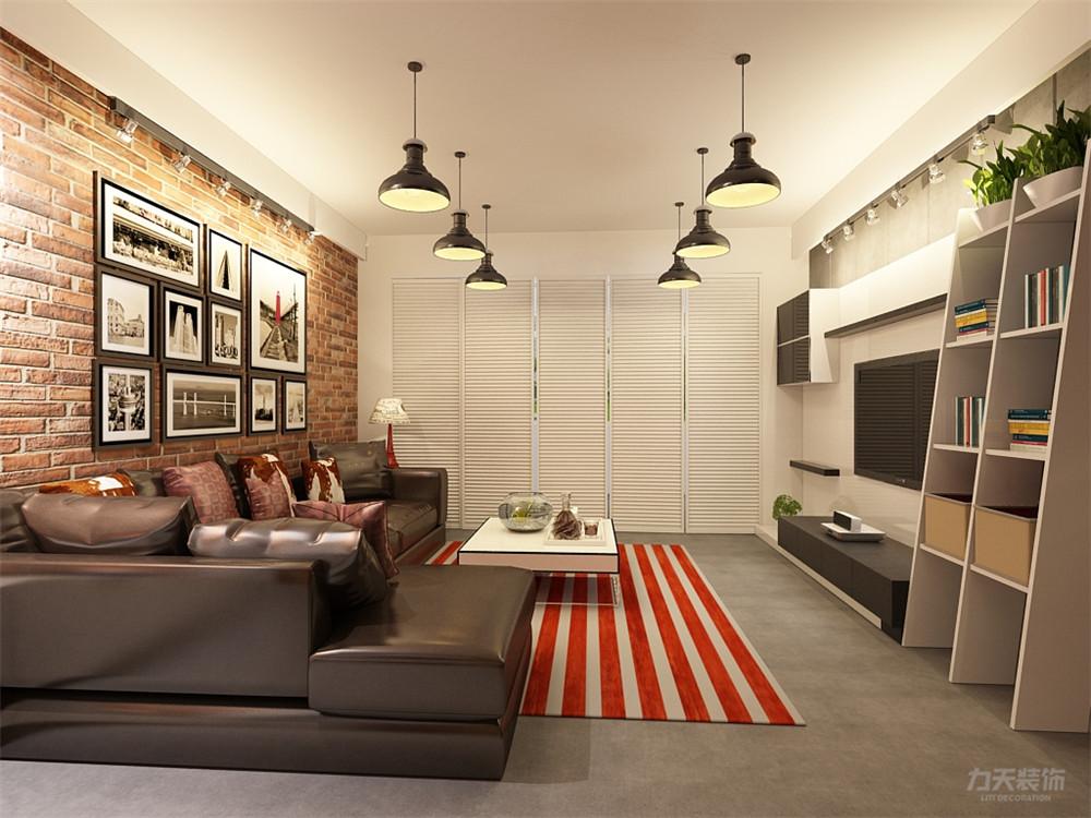 沙发背景墙则采用裸露的红色墙砖,增加风格性,沙发选用黑色皮质转交图片