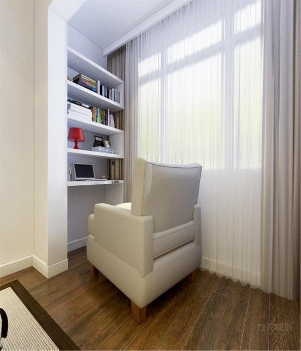 卧室中的一家设置了一个书柜和小沙发,增添了卧室的功能性,方便业主咋卧室里看书,休闲