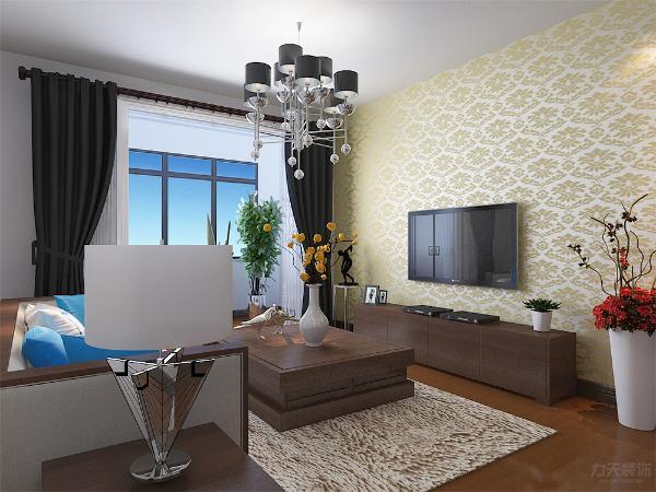 客厅墙体为白色乳胶漆,空间显通透,沙发和茶几以及电视柜为胡桃木。环保健康为主题。窗帘为深色布艺,电视墙一侧通铺大马士革壁纸,以黄色调位置的电视背景墙,增加客厅整体空间的色彩