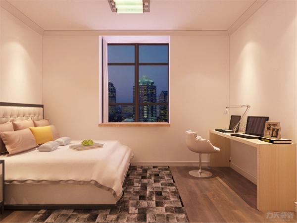 卧室的设计中,同样我们采用了木色的衣柜与自然的墙面相结合,木色的衣柜配搭棕色系的双人床使偏冷色系的空间有了少许温暖和亲切,地面采用的是实木复合地板具有防滑的功效