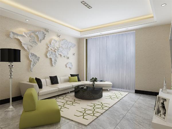 沙发背景墙悬挂了了世界地图,简单大气,家具与整体深浅对比协调统一,营造出温馨典雅的气氛。客餐厅吊顶相仿,与整体感觉统一融洽。