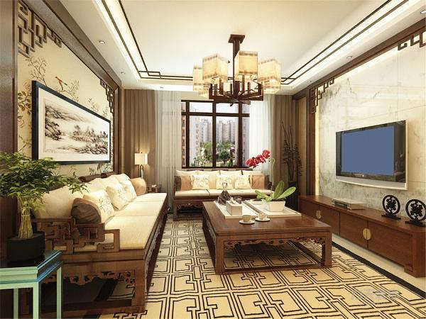 客厅采用木质隔板、电视背景墙的边框,水墨风格的壁画和吊灯等等,色调主要以深色调为主,使得整体充满浓厚的文化韵味。在布局上有效的利用空间