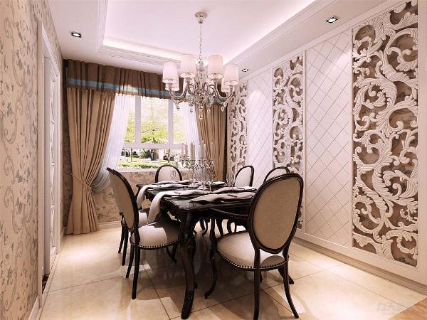 餐厅的墙体也做成了浮雕的样式,增加了视觉效果