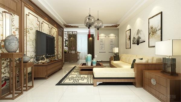 客厅的沙发背景墙运用了中式壁纸,增添了此户型的整体风格感,十分大气。电视背景墙做了很多中式的造型设计,电视柜居中,方便储藏东西,又丰富背景墙整体颜色相近,中式的风格感增强了许多。