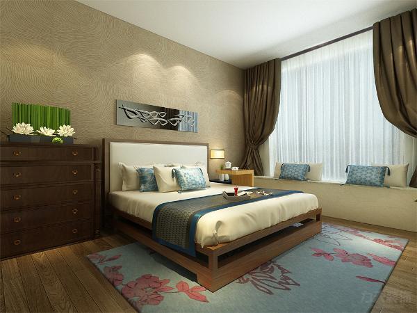 主卧室的设计,以暖色调为主简单大方,背景墙的挂画使墙面更加有风格感,简约但不简单。地毯与墙面相呼应