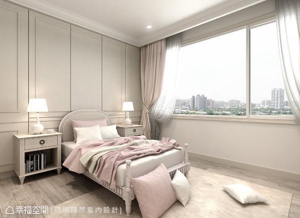 粉嫩的空间色调,搭配美式线板的主墙立面,优美且典雅的表现方式,演绎超梦幻的小小天地 (此为3D合成示意图)