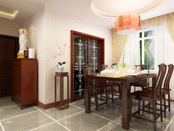 餐厅的木椅增添了中式家具的风格并且餐厅临窗光线通透明亮