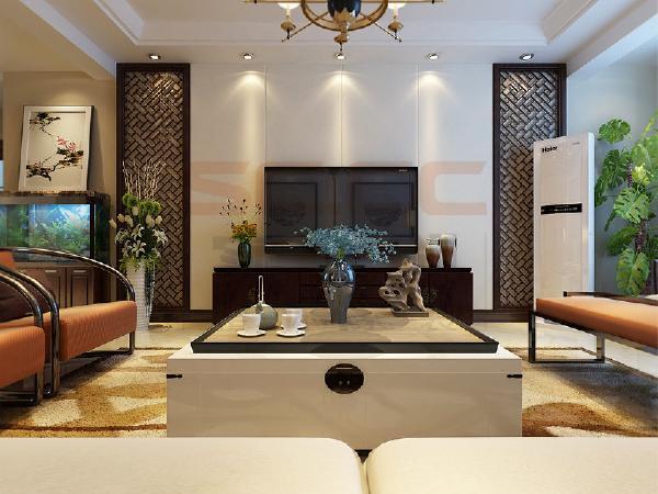 电视墙采用柔和的石膏板硬包搭配与木门颜色一直的万字花格凸显风格,家具以新中式为主,简洁不是品味。