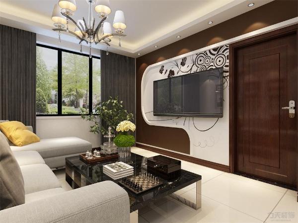 客厅设计讲究的是简约、稳重,深色的电视背景墙、深色的的茶几,沙发,餐桌使得整个空间即稳重又清新,布艺的沙发为空间增添温暖简洁干净的气息,沙发靠窗户,光照也使空间看起来更干净