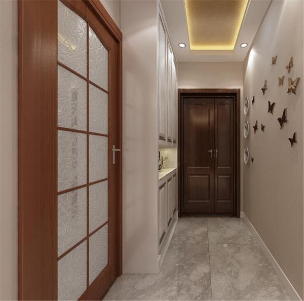 玄关处贴有装饰性的蝴蝶和储物柜,储物柜增加的玄关的功能性,蝴蝶为单调的玄关处增添了一抹色彩。