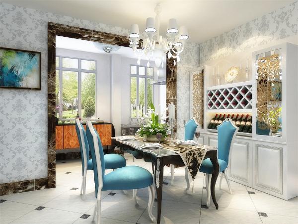 墙体采用欧式花纹壁纸,餐厅与客厅相对,墙壁运用了壁画,空间宽阔,令用餐者心情舒畅。