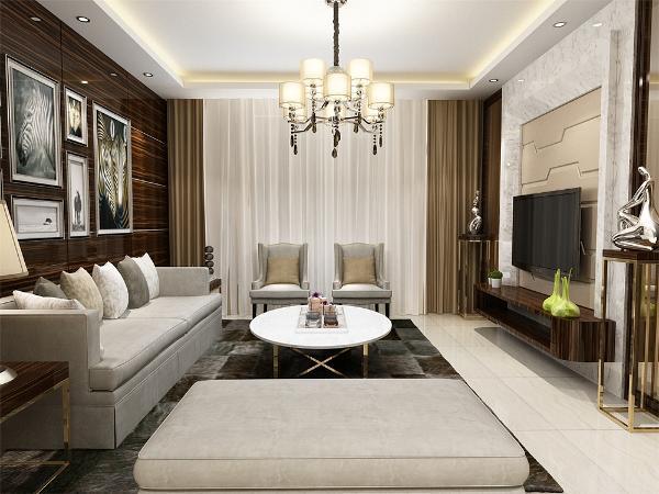 在功能方面,客厅是主人品位的象征,体现了主人的品格、地位,也是交友娱乐的场合,我们采用偏暖色的色调,配上顶部照下来的灯光,把整个客厅提升起来。