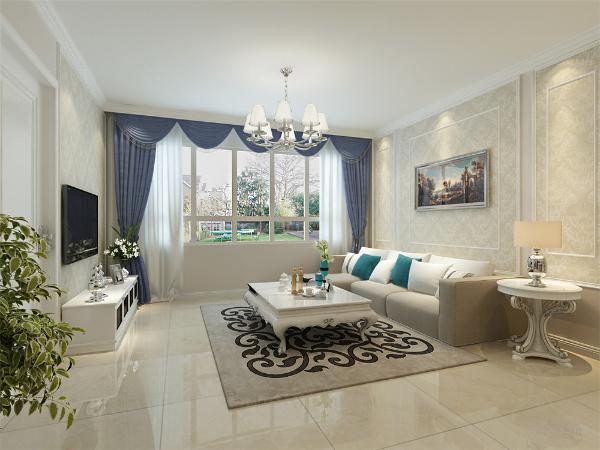 客厅采用了浅咖为主色调,加入其他的颜色进行搭配,使空间不暗沉,且很奢华的同时也很温馨。给业主带来更舒心的生活环境。