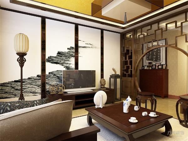客厅以沉稳的木调色为主,电视背景墙选用大面积水墨画和镜面为主,不仅使人视线得到扩展,放松,更是体现了在有限的空间里制造纵深感的设计理念,客厅整体家具传统中式风格