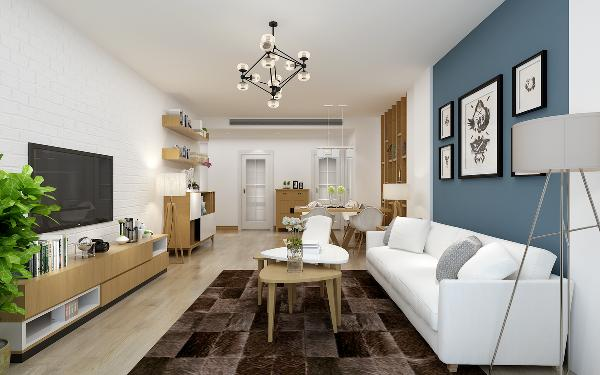 """在客厅与餐厅的设计上,以""""轻装修,重装饰""""为原则,因此硬装上面并没做改变,整个空间以白色为主色调,原木色为辅给人一种干净,静谧的感觉,沙发背景墙选用灰蓝色的墙漆,使整个空间瞬间充满盎然与生命之感。"""