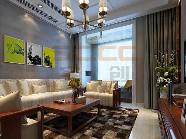 浅色的壁纸、欧式风格的太阳线吊顶及壁画、再加上温馨的吊灯,在庄重严肃的中式家具氛围中透漏出丝丝的欧式烂漫气息。