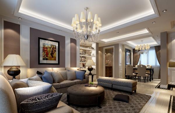 客户需求(客厅):希望客厅能够采光好点,大气一点。 此案例中以暖黄色地砖搭配比较简易又时尚的家具,且在电视背景与沙发背景墙区域做了简单的灰白相搭为造型,使得房间更突出重轻色的感觉。
