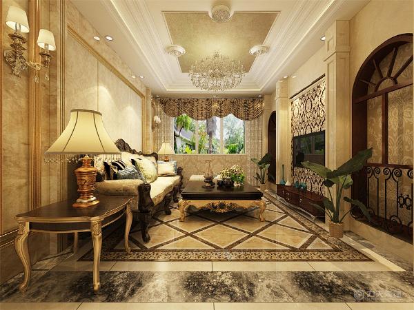 客厅采用了暖黄为主色调,加入其他的颜色进行搭配,使空间不暗沉,且很奢华的同时也很温馨,家具的选择是以欧式纹理为主,餐厅采用了四人桌椅.餐厅与厨房间加入了两扇屏风。