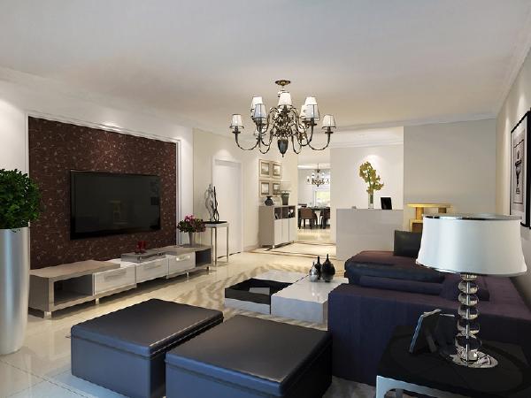 浓厚的现代感表现的淋淋尽致,白色的乳胶漆与深色的窗帘沙发、电视背景墙是客厅的主要组成部分,宽敞的阳台门洞,只是简单的包了门套,使大自然的阳光可以充分的照入室内,为主人提供了一个舒适,阳光的生活氛围