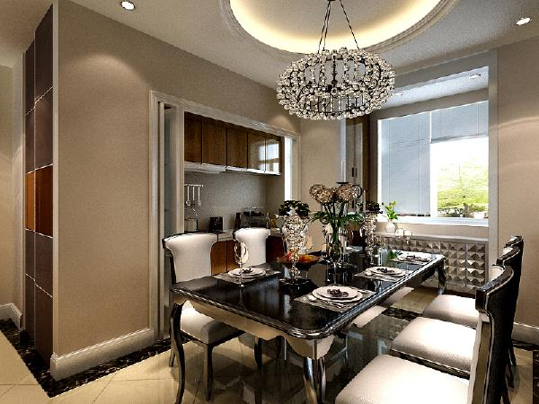 餐厅和客厅融合在一起的,也是以米色调为主,与客厅相辅相成,餐厅墙面采用大面积的车边菱形镜来装饰即显得富丽堂皇又不失典雅气质。根据设计师的意见,餐厅选用黑色餐桌,与主色调相呼应,突出钢琴键的设计主题。