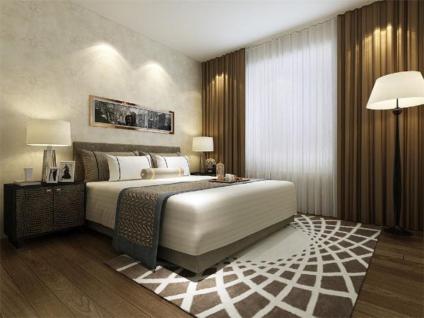 卧室的设计中,同样没有过多繁杂的造型,在床头背景墙上,同样只是挂画做了装饰,整体的色调和客厅相符合,偏暖,没有更多的刺激性,让业主回到房间后,回到家后能感觉到一种放松,温暖的感觉。