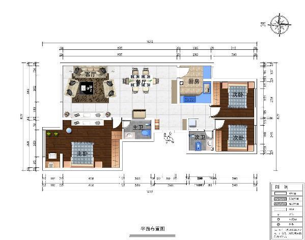 案户型为三室二厅两卫,全明南北通透。套内建筑面积90平米。
