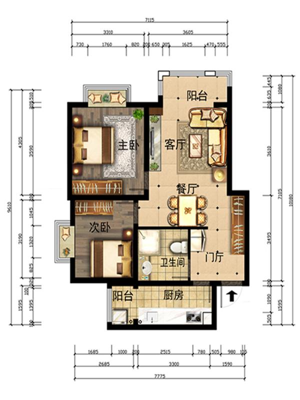 客厅和餐厅空间较小,运用相互借空间的手法,通过方形顶将两个空间合而为之,同时用两圈石膏素线双向围合,起到纵向拉伸效果,并附有层次感。