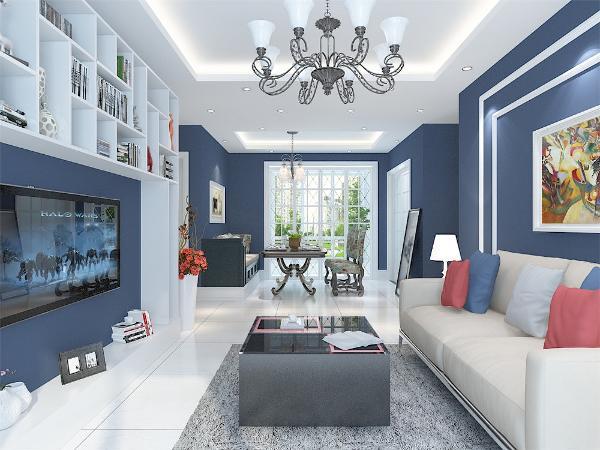 客厅使用欧式复古吊灯,电视背景墙使用简洁的书格,同时也增加了实用性。沙发背景使用简单的回型石膏线勾勒,以彩色的挂画装饰,既点亮了整体空间,也使整个沙发背景与整体简洁的空间相辅相成