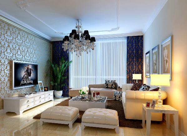 客厅效果温婉大气多层的石膏线设计丰富空间的层次,暖色调的墙面颜色设计提升空间的舒适度。皮质沙发加深空间的档次。
